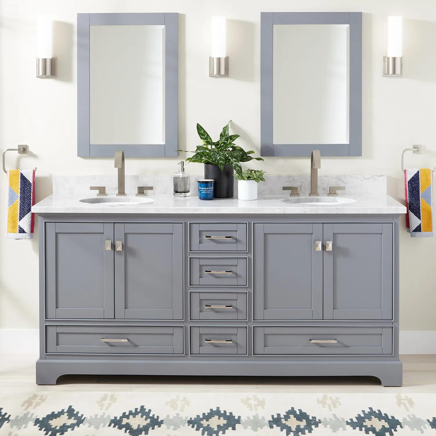 72 Quen Double Vanity For Undermount Sinks Gray Bathroom